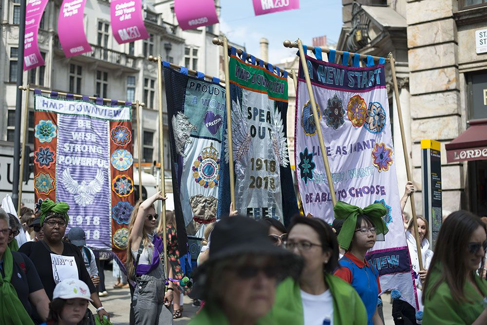 A procession of women supporting women rights