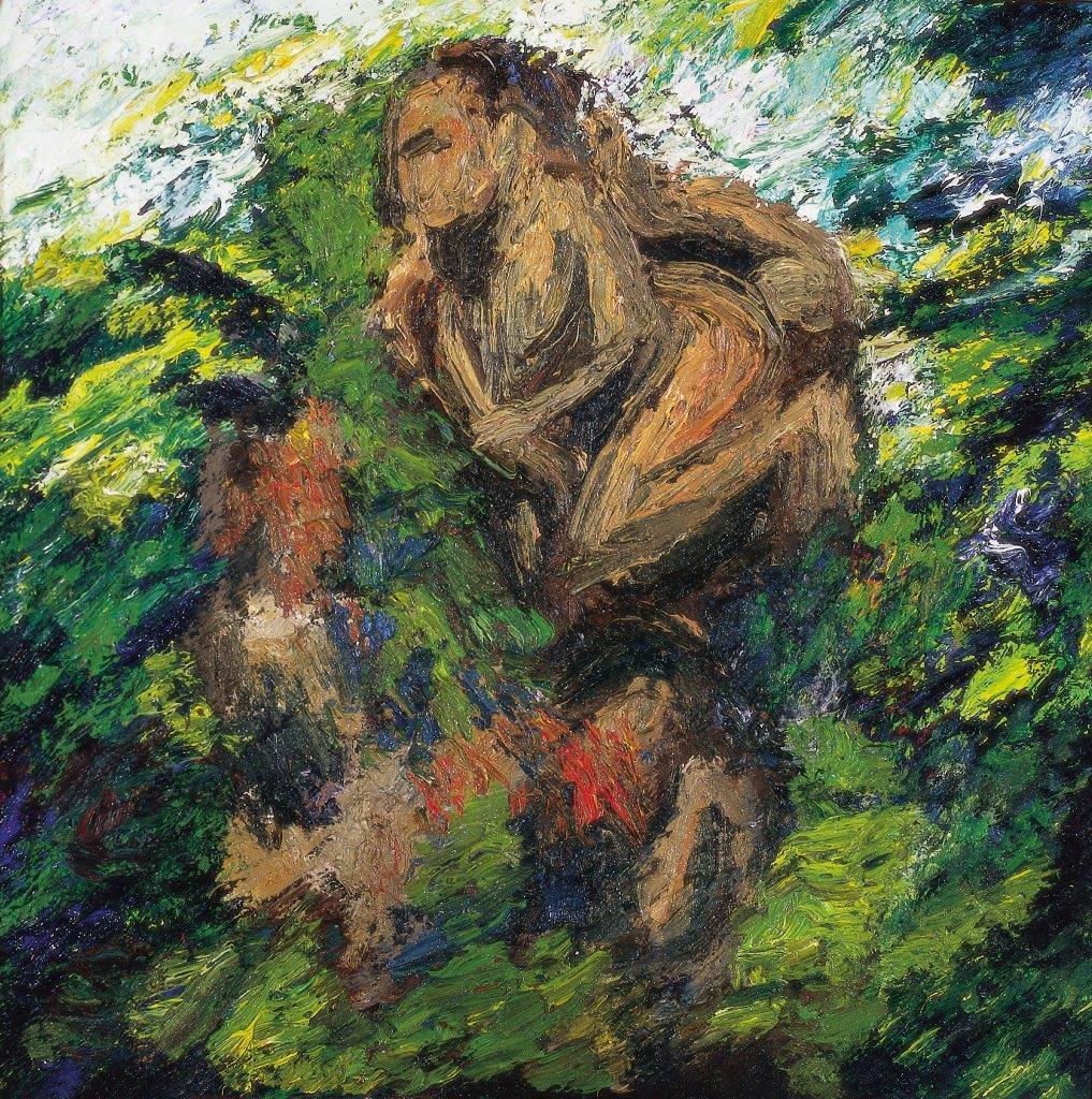 oil painting of indistinct figure