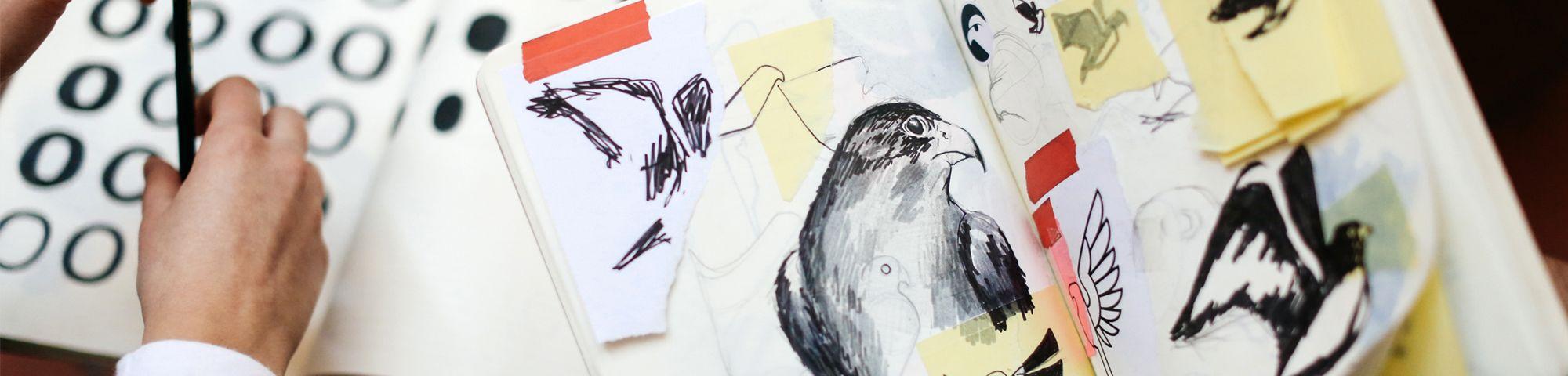 Sketchbook by Miguel Desport and Marion Bisserier during their Internship at Pentagram