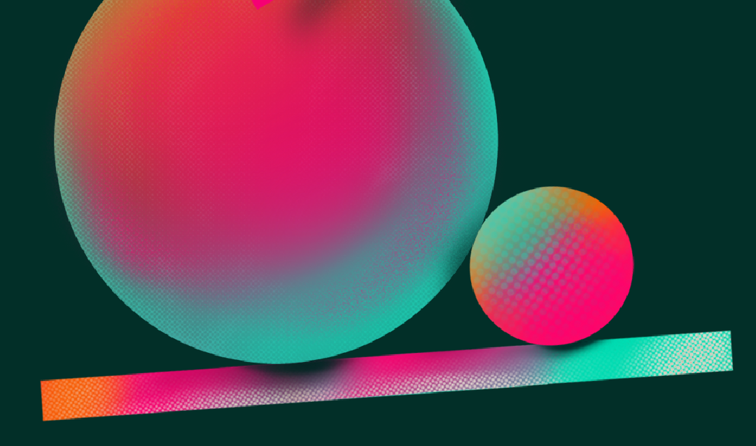 A dark green background with computer-generated pink teal and orange 3D shapes