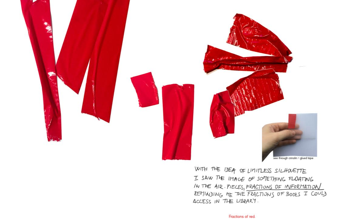 Red plastic material layered onto paper