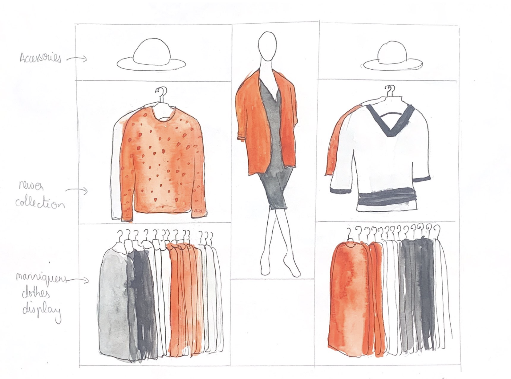 Illustration of a clothing rack within a retail shop