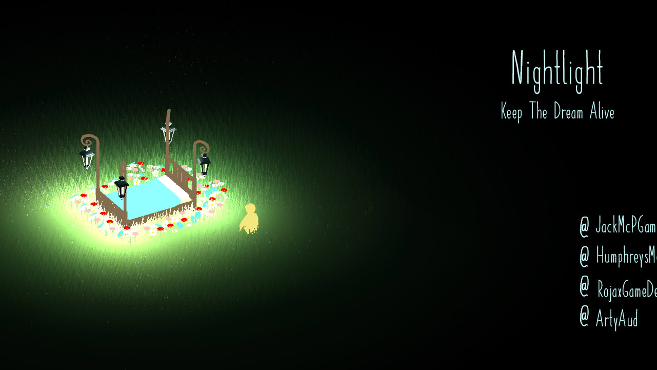 Screenshot of game showing lit up garden in a night time setting.