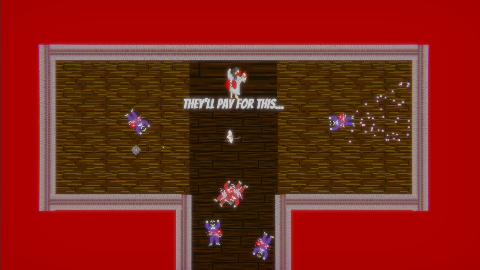 Screenshot of game showing cartoon player surrounded by dead characters.