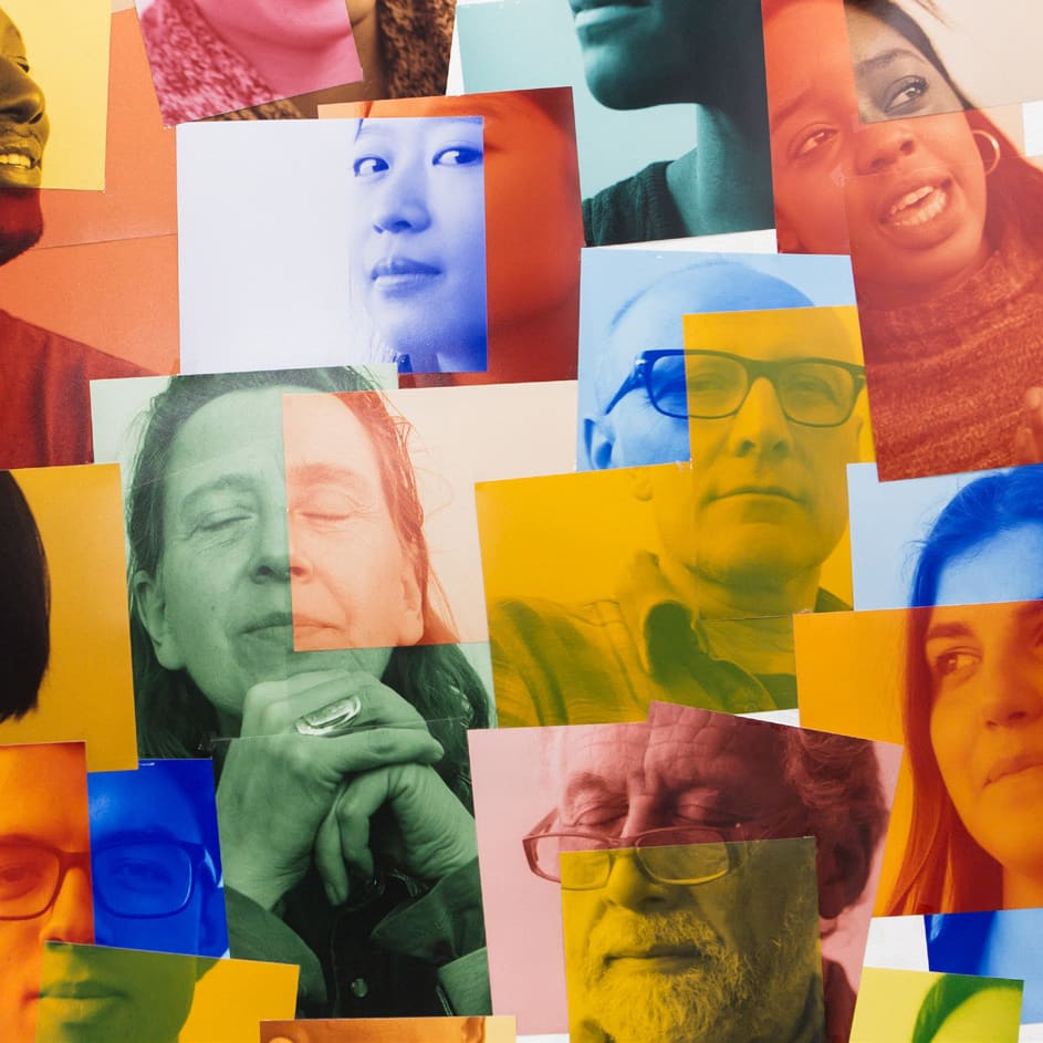 Collage of people's portraits