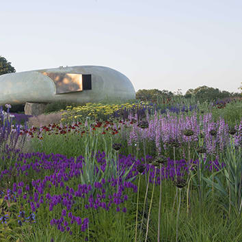 Photo of the Radić Pavilion at Hauser & Wirth in a field of purple flowers and grass