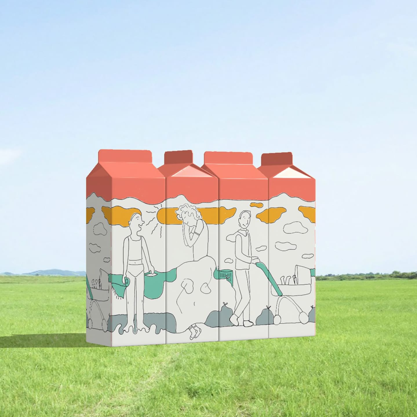 Four large drink cartons in a field