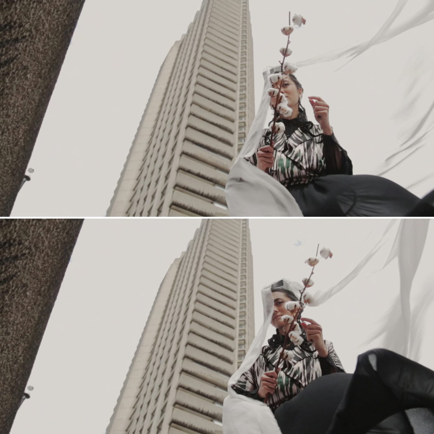 A person stood next to a tower block holding a cotton stem