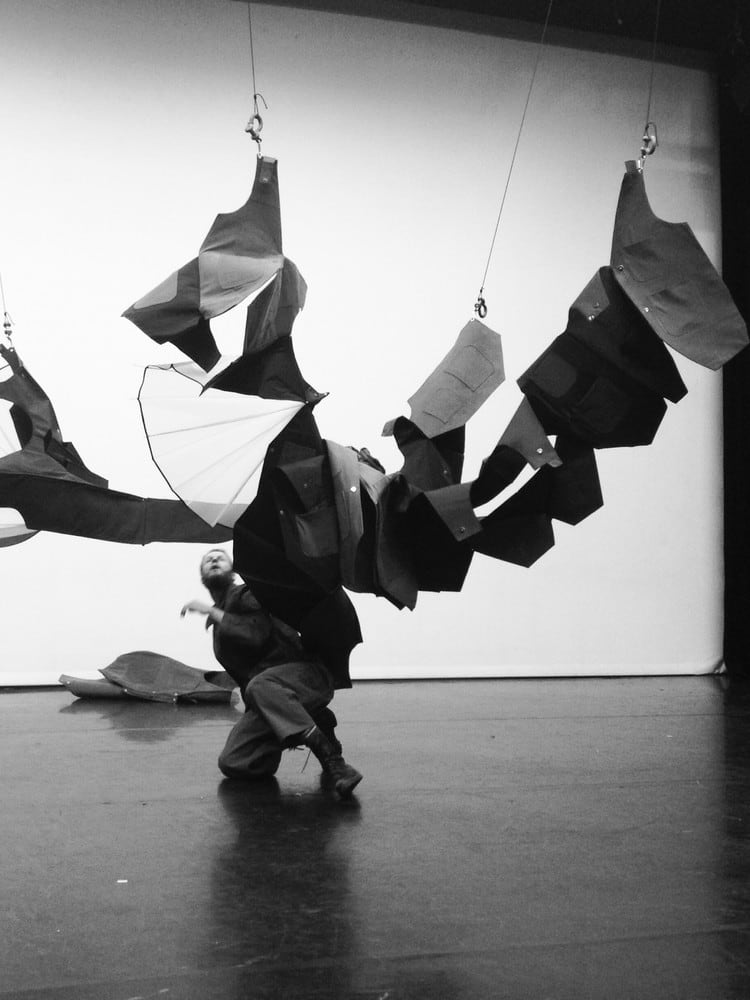 Interactive costume with ceiling suspended parts by Bronya Arciszewska