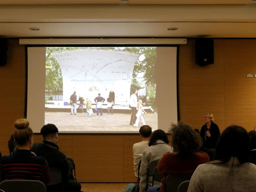 Jeanne van Heeswijk speaking at the Spatial Practices Lecture Series - Spring 2016