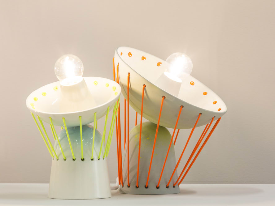 Image of two modern lamps featured at the Central Saint Martins degree show 2015
