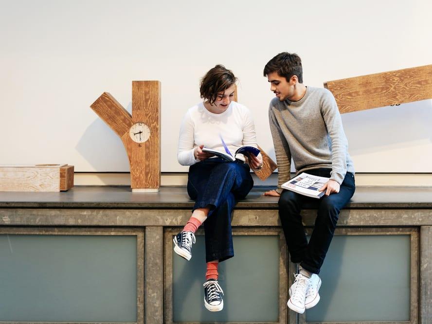 Miguel Desport and Marion Bisserier during their Internship at Pentagram