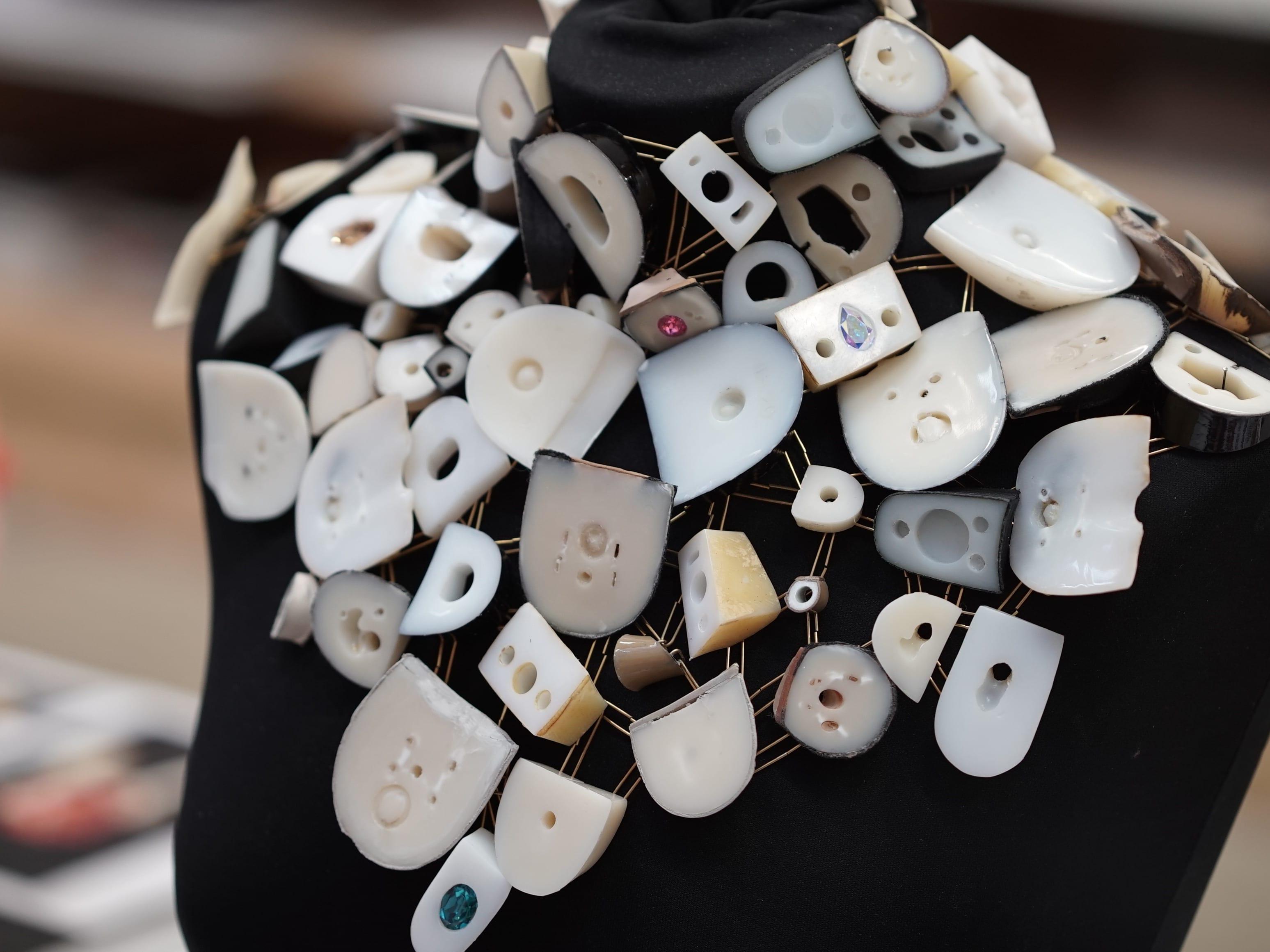 Necklace made of heels created for the 2019 Swarovski Sustainability project by Mizuki Tochigi