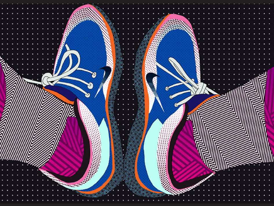 An illustration of a pair of ankles in highly patterned Nike trainers.