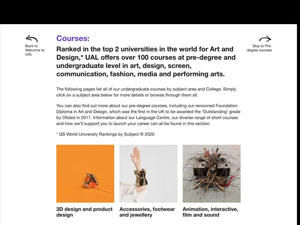 Screen of Online Prospectus on black background