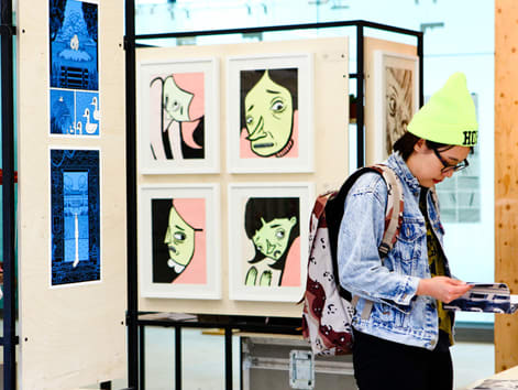 Student at exhibition