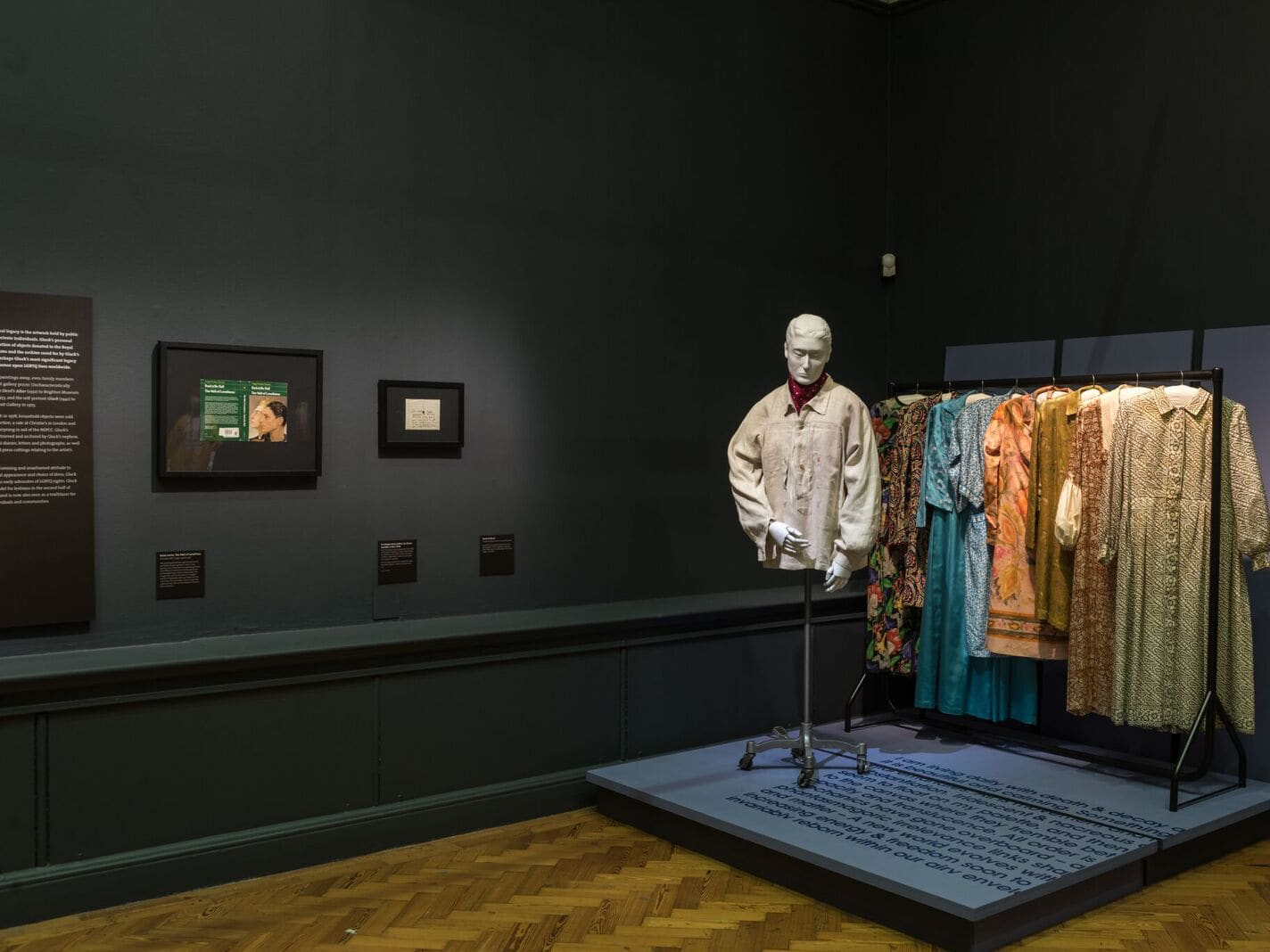Gluck Art and Identity exhibition - mannequin and clothing display