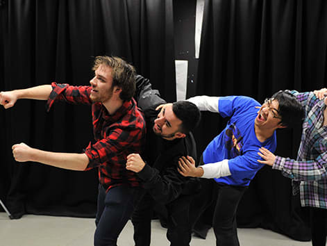 Performing Arts students rehearsing.