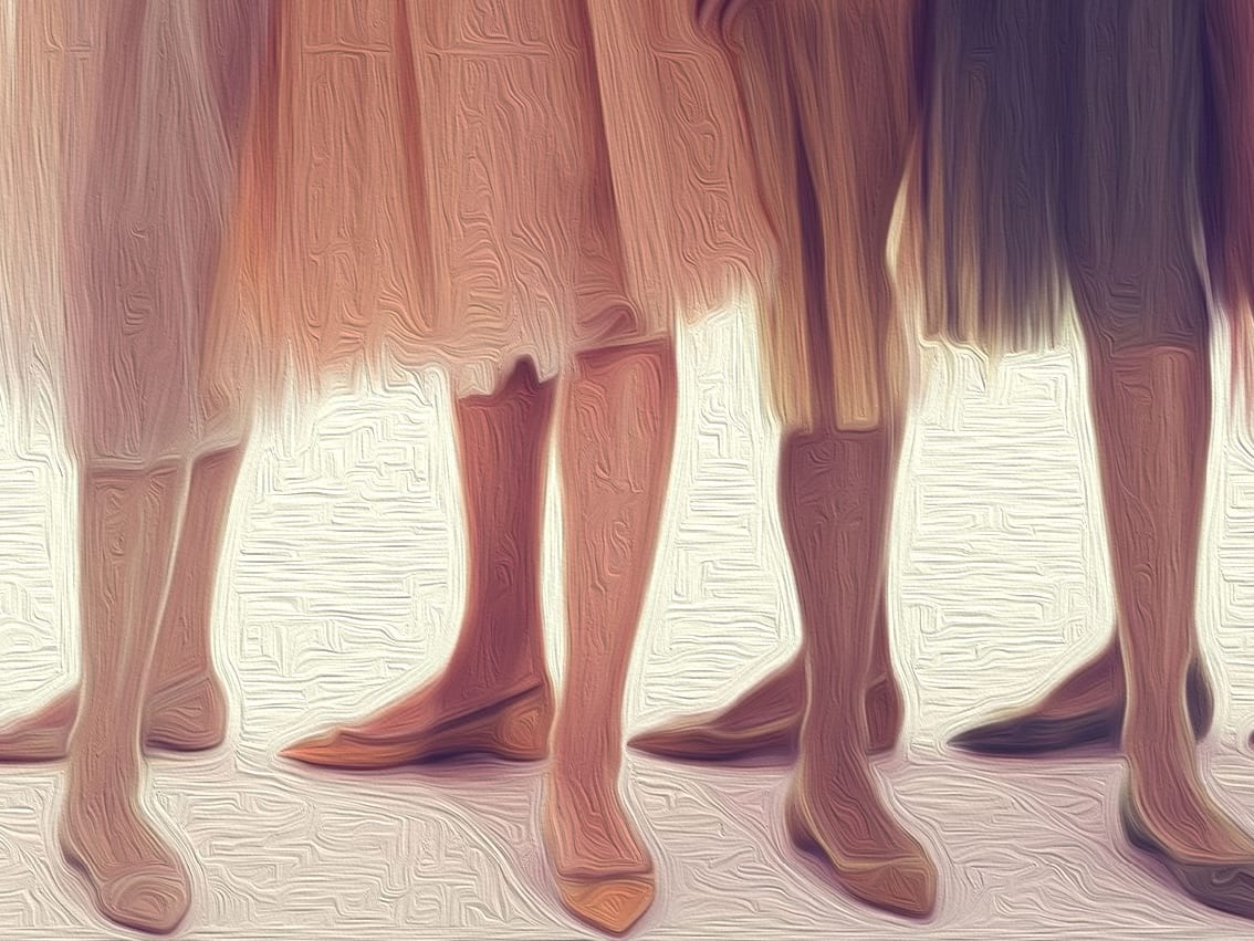 ballerinas in various nude shades