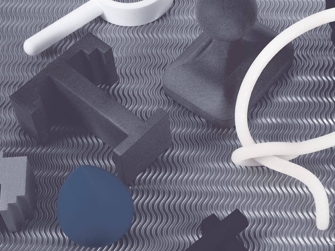 Computer-generated image of grey and white objects.