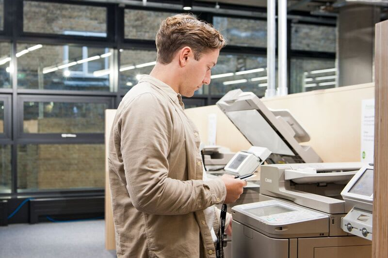 Student using a printer