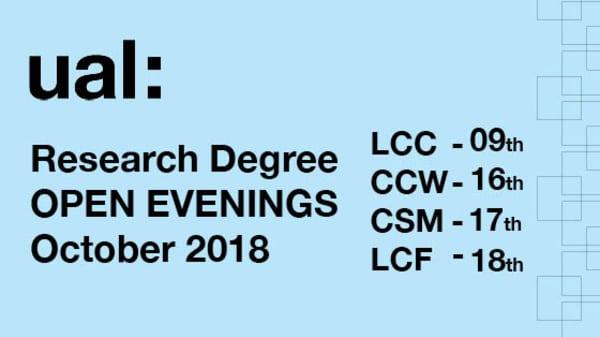 UAL PhD OPEN EVENINGS 2018