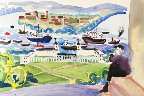Watercolour illustration of a landscape featuring a figure, boats and ships.