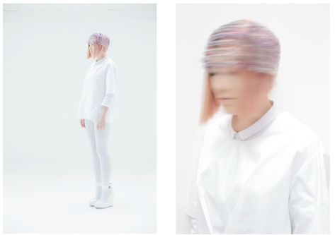 Two separate images; on the left a woman dressed in a white, futuristic outfit with a headpiece, on the right a close-up of the head with hat-piece.