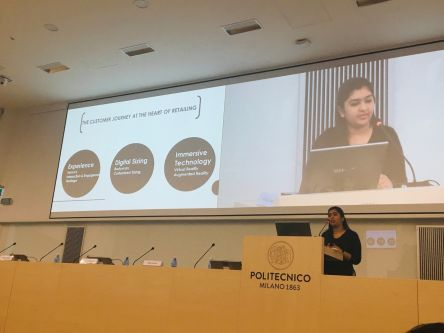 Student presenting at Milan Politecnico Conference