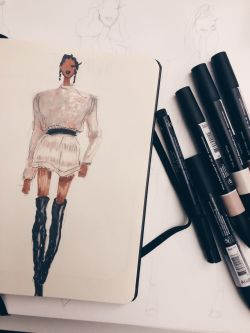 Fashion Drawing in progress with pens.