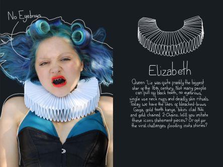 Woman with black teeth, blue hair and ruff
