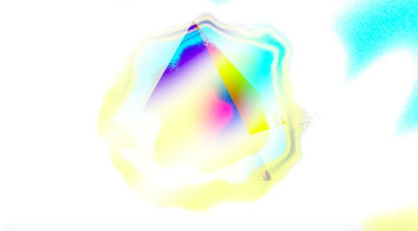 A motion still which shows a colourful pyramid growing from a dissolving yellow bubble.