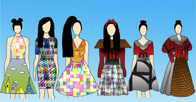 A series of colourful fashion designs for dresses and skirts..