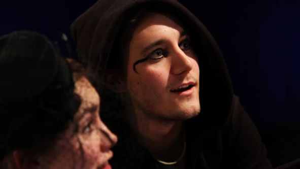 Two actors on stage, Midsummer Night's Dream performance, MA Acting, CSM, 2012.