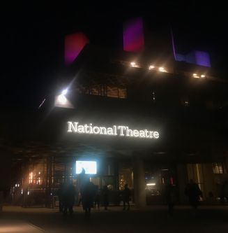 An image of the National Theatre at night