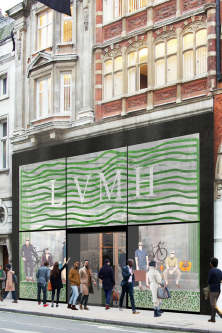 A mock up of the facade of the winning team's Green Store concept for the LVMH student project