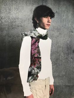 Photo-collage of figure with shirt and floral scarf