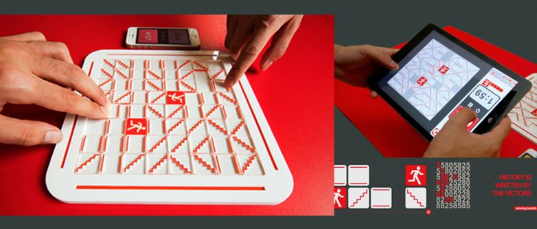 View of an analogue games board - white and red, split up into squares on which there are red staircases and stick figures running. The other image shows a player interacting with a digital version of the same game.