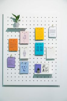 Notes pinned to a board