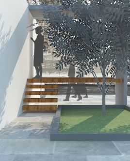 Digital render of exterior architecture and garden design.