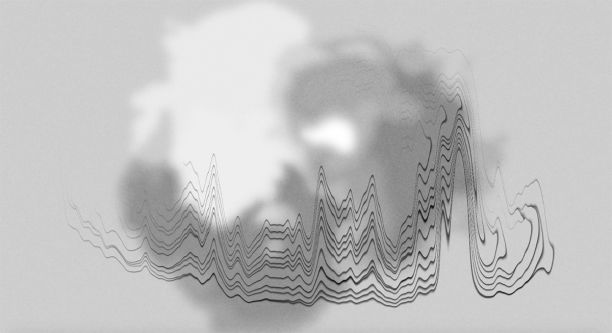 A motion still in which a grey ball collapses into a sound wave.