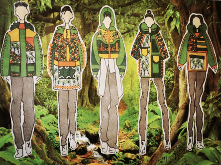 A series of students fashion and textile designs inspired by nature.