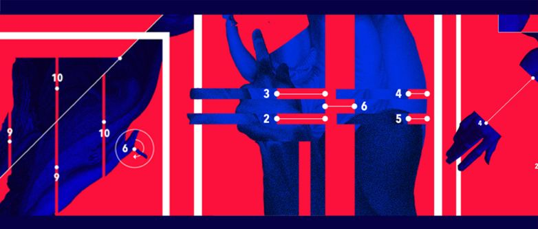 Animation still made up of abstracted shapes - blue body-like shapes, a block red background, white lines and different numbers.