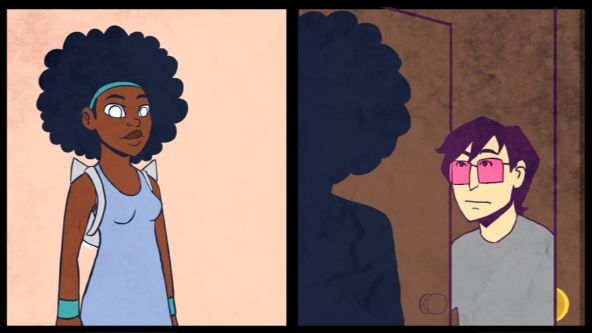 Two frames featuring a different character in each. One is a women who has an afro and is wearing a dress, the other is a man wearing pink tinted glasses.