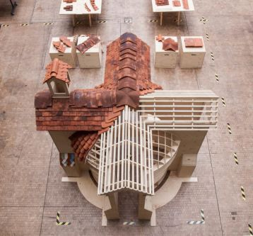 A semi-constructed model of Watts Chapel in The Street at Central Saint Martins