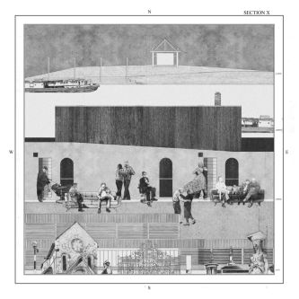 A black and white sketches of people sat in front of different buildings and locations within a city