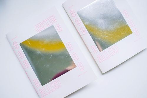 Two book covers with abstract coloured images.