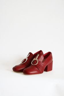 Red block heel shoes with buckle