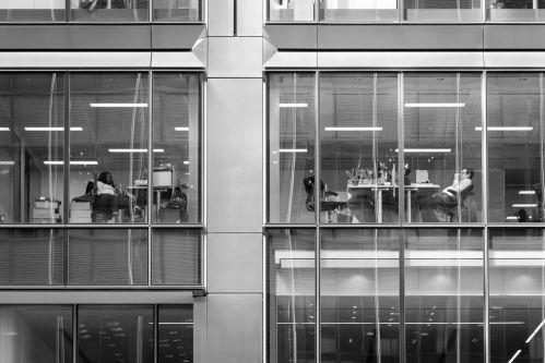 a view into offices through windows