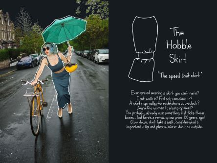 Woman pushing bike with umbrella wearing restrictively tight skirt